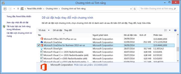 Tìm ứng dụng đồng bộ OneDrive for Business trong Panel Điều khiển trong Windows