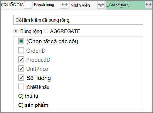 Bung rộng nối kết Bảng Order_Details