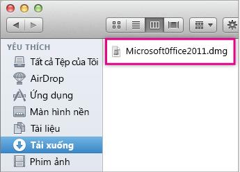 Ảnh của tệp .dmg mà bạn bấm đúp vào để mở chương trình cài đặt Office.