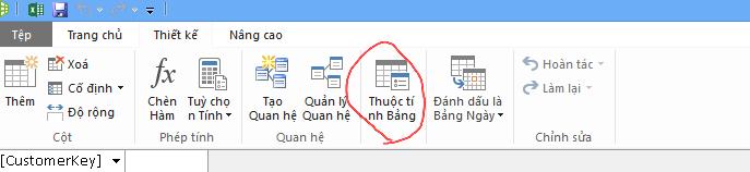 Ruy-băng trong cửa sổ PowerPivot hiển thị lệnh Thuộc tính Bảng