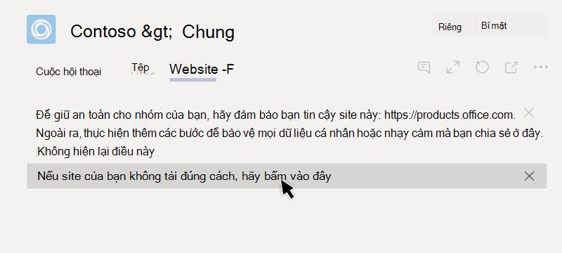 Trang web không thể tải một tab