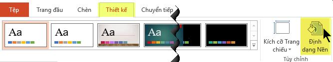 Nút Định dạng Nền nằm trên tab Thiết kế của Dải băng trong PowerPoint