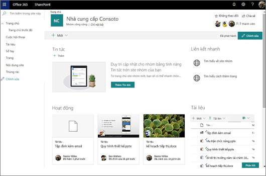 Này hiển thị trang nhóm sau khi bạn đã kết nối một nhóm Office 365 mới và bao gồm nối kết đến site nhóm cũ của bạn.