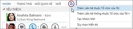 Trong cửa sổ chính của Lync, bấm nút Thêm liên hệ