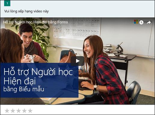 Chèn hộp thoại video YouTube cho Microsoft Forms
