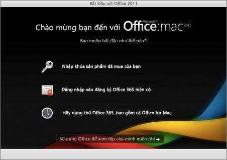 Ảnh chụp màn hình trang Chào mừng Office for Mac 2011