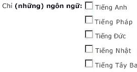 Các hộp kiểm ngôn ngữ cho tiếng Anh, tiếng Pháp, tiếng Đức, tiếng Nhật và tiếng Tây Ban Nha