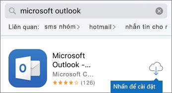 Nhấn vào biểu tượng đám mây để cài đặt Outlook
