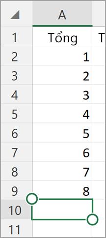 Máy tính bảng Windows tự động tính tổng của Excel