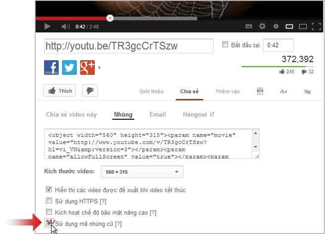 Nối kết đến video trên YouTube