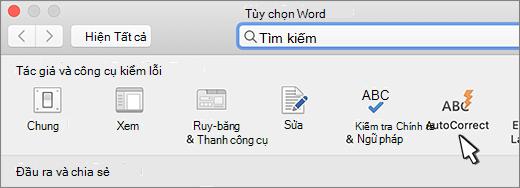 Nút tự sửa trong Word cho Mac
