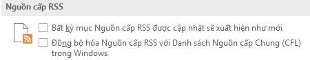 Hộp kiểm Đồng bộ Nguồn cấp RSS với Danh sách Nguồn cấp Thông thường