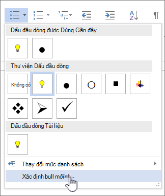 Thả xuống dấu đầu dòng với xác định hình chữ mới của dấu đầu dòng