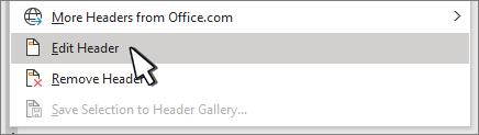 Sửa đầu trang được chọn trên hộp thoại tiêu đề