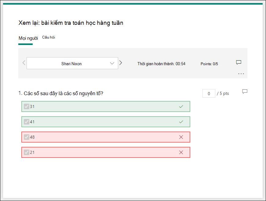 Trang xem lại câu trả lời