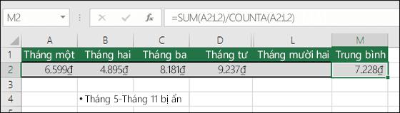 Sử dụng hàm SUM với các hàm khác.  Công thức trong ô M2 là =SUM(A2:L2)/COUNTA(A2:L2).  Lưu ý: cột Tháng 5-Tháng 11 được ẩn để tầm nhìn rõ ràng hơn.