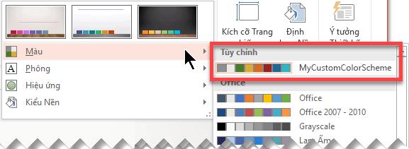Sau khi bạn xác định bảng phối màu tùy chỉnh, bảng này sẽ xuất hiện trên menu thả xuống Màu