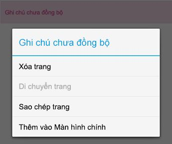 Menu ghi chú trong OneNote for Android