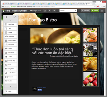 Ví dụ về thanh bên trong công cụ thiết kế website GoDaddy