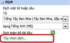 Ngăn Dịch với tùy chọn Dịch
