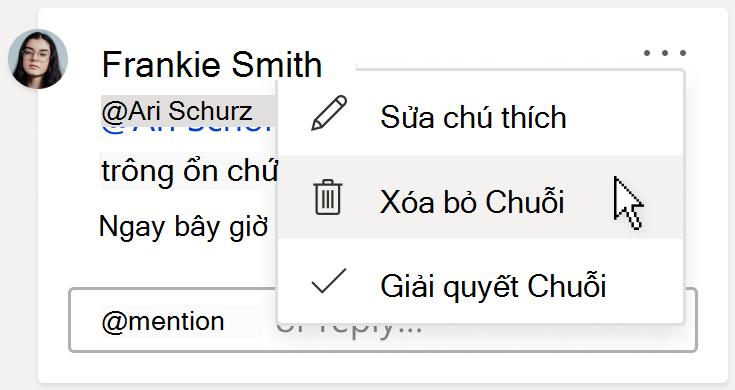 Hình ảnh của chú thích, Hiển thị tùy chọn xóa thread bên dưới menu hành động chuỗi thêm trên thẻ chú thích.