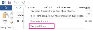 Lệnh Thu gọn Ribbon sau khi bấm chuột phải vào một tab trên ribbon trong Word 2013