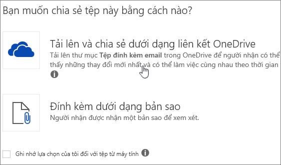 Ảnh chụp màn hình của phần đính kèm hộp thoại hiển thị tải lên và đính kèm như một tùy chọn tệp OneDrive.