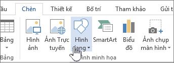 Nút Chèn hình dạng trong Word