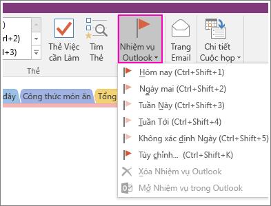 Ảnh chụp màn hình của nút Nhiệm vụ Outlook trong OneNote 2016.