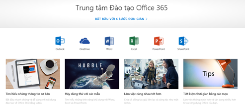 Trang chủ của Trung tâm Đào tạo Office với các biểu tượng dành cho các ứng dụng Office khác nhau và các ô dành cho các loại nội dung sẵn dùng