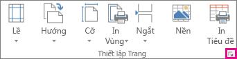 Công cụ khởi động hộp thoại trong nhóm Thiết lập Trang