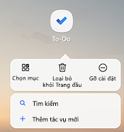 Ảnh chụp màn hình hiển thị menu lối tắt Android mà liệt kê các tùy chọn: chọn mục, loại bỏ khỏi nhà, dỡ cài đặt, tìm kiếm và thêm nhiệm vụ mới