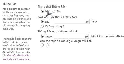 thùng phần thiết đặt của trang thiết đặt chung ứng dụng web