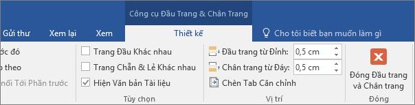 Chọn Đóng Đầu trang và Chân trang trên tab Thiết kế để dừng chỉnh sửa đầu trang hoặc chân trang.