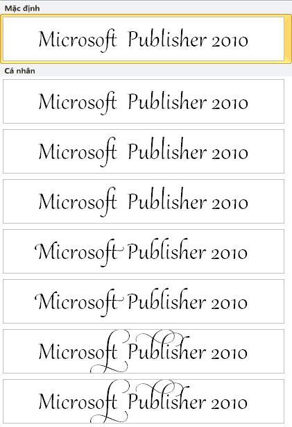 Tập biến thể kiểu phông Publisher 2010 cho sắp kiểu chữ nâng cao trong phông OpenType