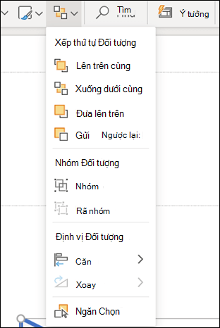 Menu sắp xếp trong PowerPoint cho web