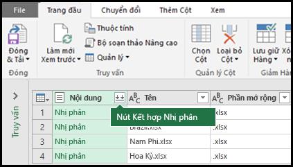 Nhấn vào nút kết hợp nhị phân từ truy vấn Nội dung cột hoặc từ phần kết hợp trong ruy-băng Power Query