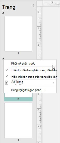 Một ảnh chụp màn hình hiển thị một phần được chọn với con chạy trỏ đến phối thư với phần trước tùy chọn.