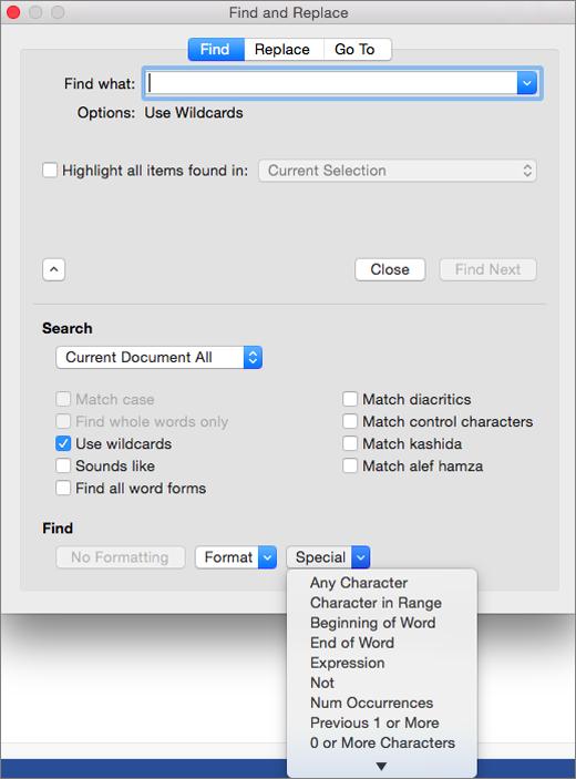 Sử dụng ký tự đại diện trong hộp thoại Tìm và Thay thế