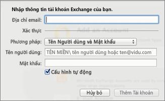 Nhập thông tin tài khoản Exchange của bạn