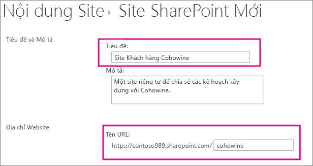 Trong hộp Tiêu đề, nhập tên cho site con, trong hộp URL, nhập tên khách hàng để thêm nó vào URL cho site.