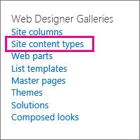 Nối kết Các loại nội dung site trên trang Thiết đặt Site