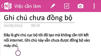 Ghi chú chưa đồng bộ trong OneNote for Android