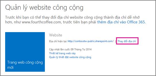 Quản lý trang web công cộng, hiển thị Thay đổi vị trí địa chỉ.