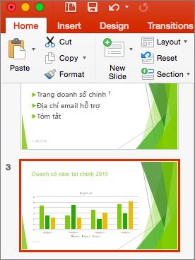 Hiển thị một trang chiếu được chọn trong ngăn hình thu nhỏ trong PowerPoint 2016 for Mac
