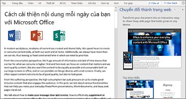 Ngăn Tài liệu ở bên trái còn ngăn Chuyển đổi thành trang web ở bên phải