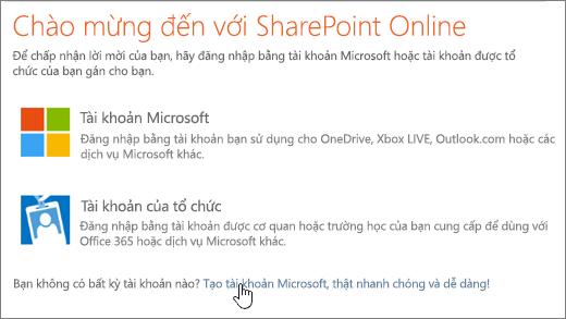 Một ảnh chụp màn hình hiển thị trên SharePoint Online đăng nhập màn hình, nối kết để tạo một tài khoản Microsoft được chọn.