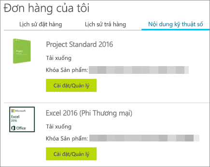 Hiển thị khóa sản phẩm trong Microsoft Store trên trang Nội dung kỹ thuật số