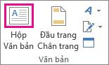 Nút Hộp Văn bản trong nhóm Văn bản