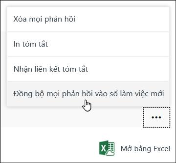 Tùy chọn Đồng bộ mọi phản hồi với sổ làm việc mới trong Microsoft Forms